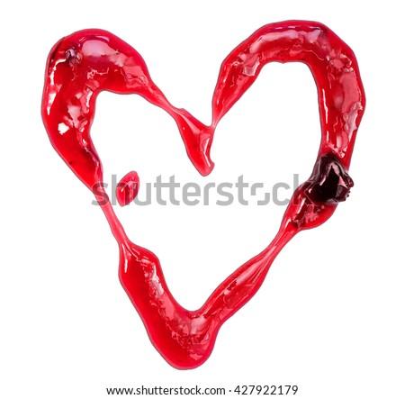 Isolated photo of cherry jam heart-shaped spot on white background (close-up, macro) - stock photo