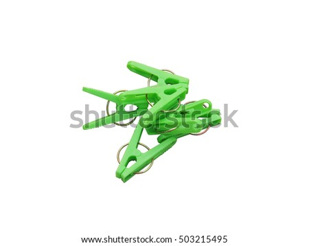 Isolated photo of light green clothespin with white background