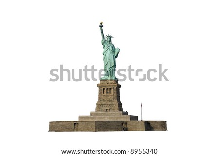 Isolated photo of the Statue of Liberty and her pedestal.