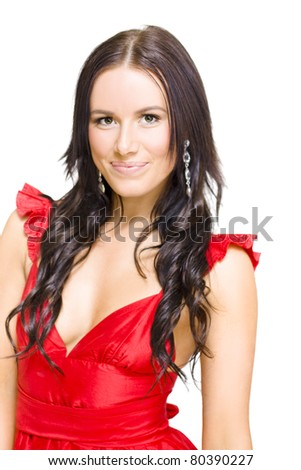 Isolated Photograph Of A Happy Smiling Young Woman With Brunette Hair Wearing Glamorous Red Dress And Pretty Earrings In A Night Out And Nightlife Concept