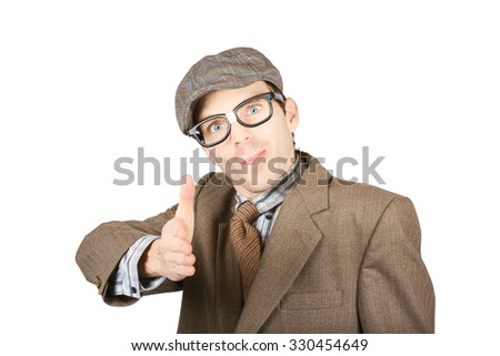 Isolated photograph of a suited up geek extending arm for handshake on white background. Smart trade agreement - stock photo
