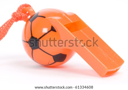 isolated picture of an orange whistle - stock photo