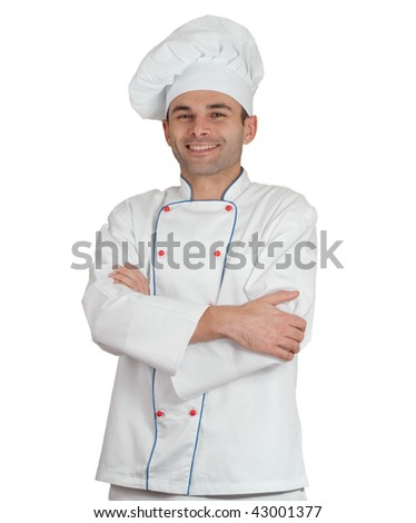 Isolated picture of an smiling restaurant chef - stock photo