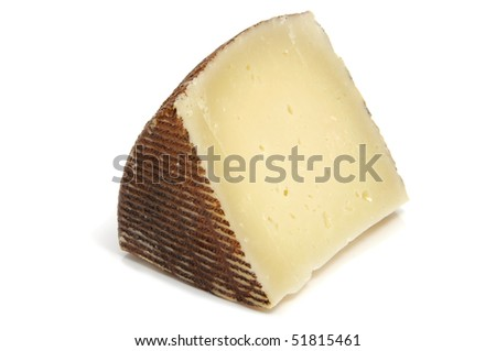 isolated piece of manchego cheese isolated on a white background - stock photo