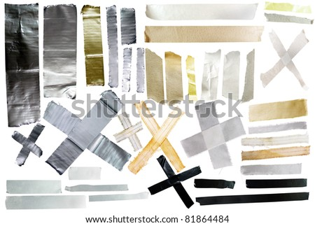 Isolated pieces of tape - stock photo