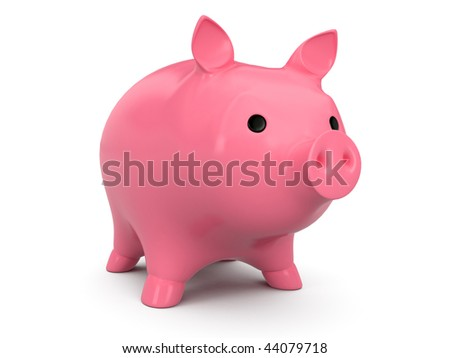 isolated pig box on white background - stock photo