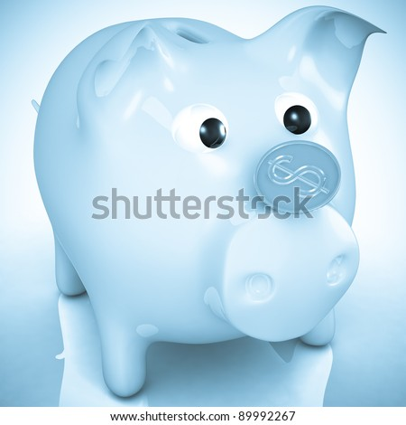 isolated piggy bank with coin - stock photo