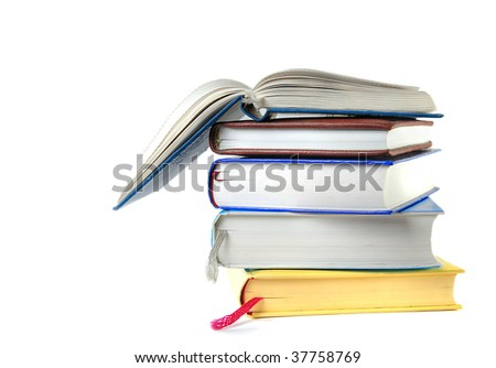 isolated pile of books - stock photo