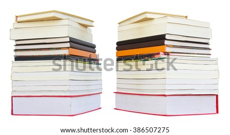 Isolated pile of books, both of which placed overlapping several books show the difference. - stock photo