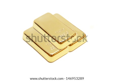 isolated pile of gold bar in white background - stock photo