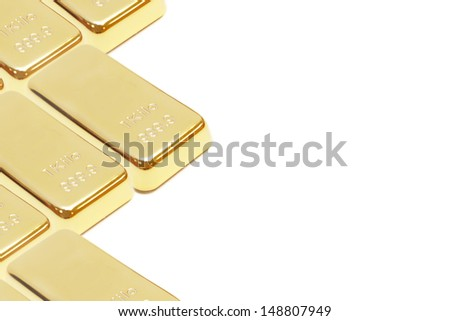 isolated pile of gold bar with blank space - stock photo