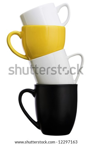 Isolated piled coffee cups over a white background