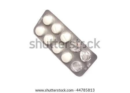 isolated pill blister in white background