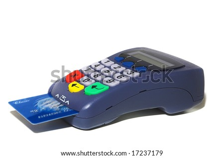 Isolated pin pad with inserted credit card. - stock photo