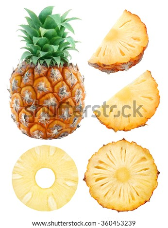 Isolated pineapples. Collection of whole pineapple fruit and cut pieces isolated on white background with clipping path - stock photo