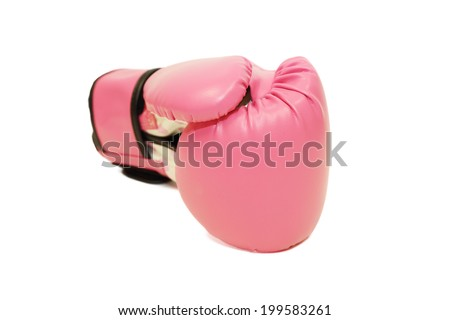 isolated pink boxing glove in white background - stock photo