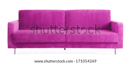 isolated pink couch  - stock photo