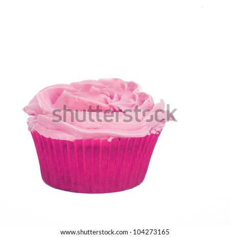 Isolated pink cupcake with rose shaped whipped cream - stock photo