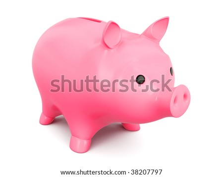 isolated pink pig box on white background - stock photo
