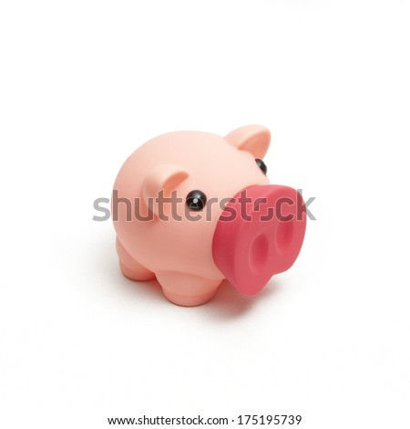 isolated pink plastic piggy bank on white background - stock photo
