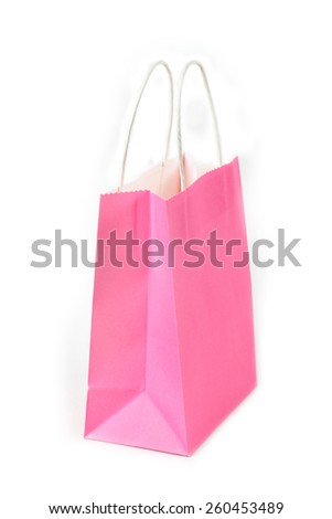 isolated pink shopping paper bag on