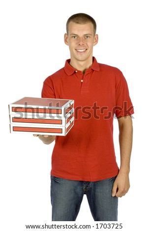 isolated pizza deliverer - stock photo