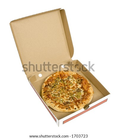 isolated pizza in cardboard box - stock photo