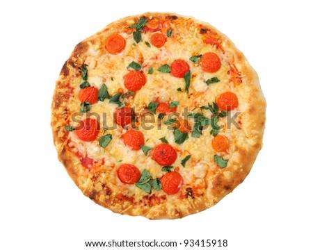 isolated pizza on white background - stock photo