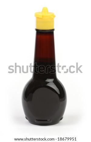 Isolated plain soy sauce bottle - stock photo