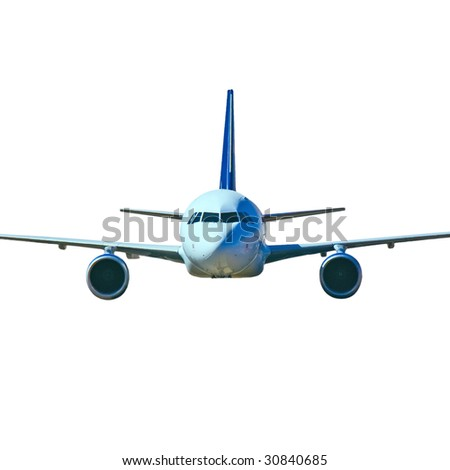 Isolated plane coming your way - stock photo