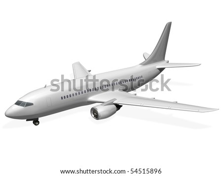 Isolated plane side view - stock photo