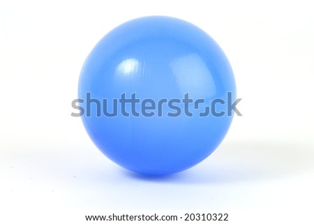 isolated plastic blue ball of white background