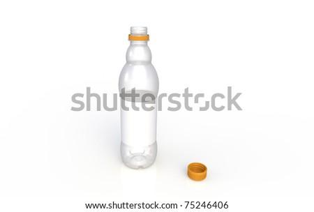 Isolated plastic bottle with orange cap. - stock photo