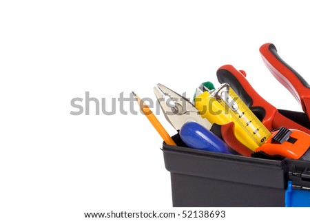 isolated plastic box with tools