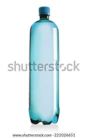 Isolated plastic water bottle on a white background. - stock photo
