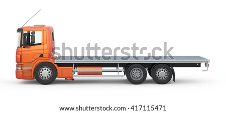 Isolated platform truck on white background. 3d Rendering.