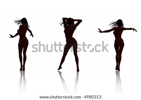 Isolated playful women poses