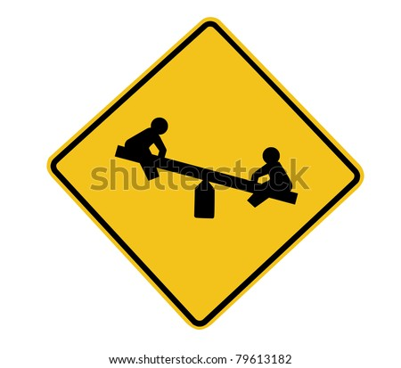 Isolated Playground Road Sign over white background. Clipping path included for easy extraction. - stock photo