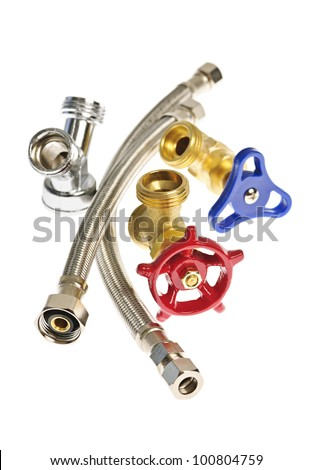 Isolated plumbing valves hoses and assorted parts