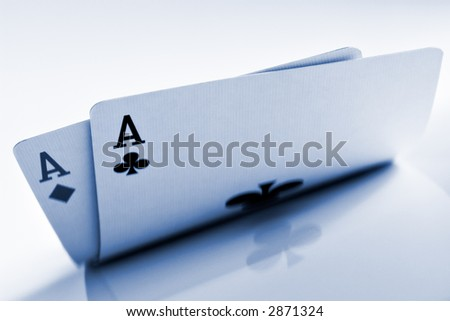 Isolated Pocket Aces with reflection - stock photo