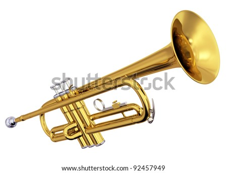 Isolated polished brass trumpet. Includes pro clipping path. - stock photo