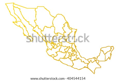 Isolated Political Mexican Map Mexico State Stock Illustration