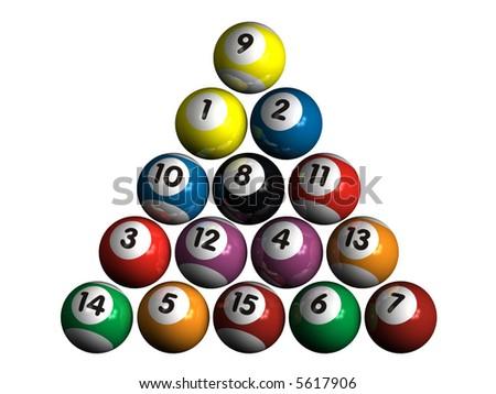 isolated pool balls - stock photo