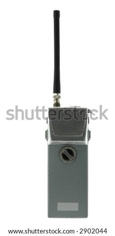 Isolated portable vintage handheld radio - stock photo