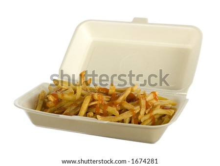 isolated portion of French fries - stock photo