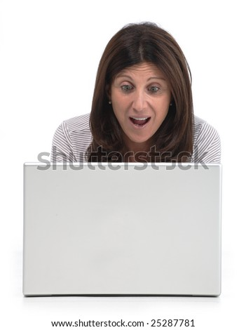 Isolated portrait of a beautiful business mature woman working on a laptop on the floor