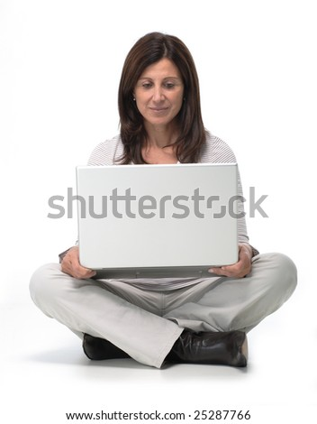 Isolated portrait of a beautiful business woman working on a laptop on the floor