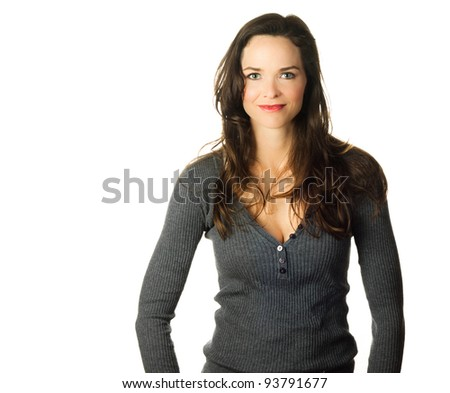Isolated portrait of a beautiful confident casual young woman - stock photo