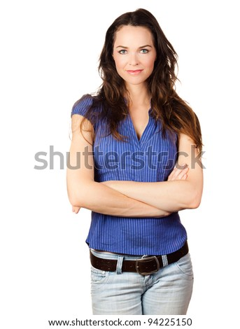 Isolated portrait of a beautiful confident young woman - stock photo