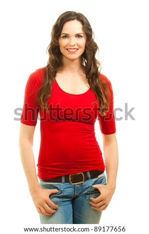 Isolated portrait of a beautiful happy young woman wearing a red top for Christmas